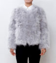 Fluffy Fur Fever Jacket Ash Grey Front