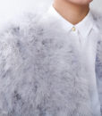 Fluffy Fur Fever Jacket Ash Grey Front Closeup