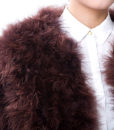 Fluffy Fur Fever Jacket Coffee Brown Front Closeup
