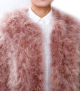 Fluffy Fur Fever Jacket Coral Pink Front Closeup