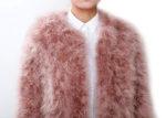Fluffy Fur Fever Jacket Coral Pink Front Closeup
