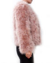 Fluffy Fur Fever Jacket Coral Pink Side