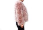 Fluffy Fur Fever Jacket Coral Pink Side
