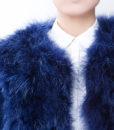 Fluffy Fur Fever Jacket Lapis Blue Front Closeup