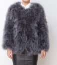 Fluffy Fur Fever Jacket Long Version Charcoal Grey Front
