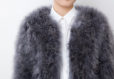 Fluffy Fur Fever Jacket Long Version Charcoal Grey Front Closeup