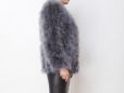 Fluffy Fur Fever Jacket Long Version Charcoal Grey Side