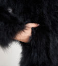 Fluffy Fur Fever Jacket Long Version Classic Black Arm Closeup