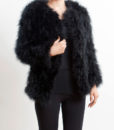 Fluffy Fur Fever Jacket Long Version Classic Black Front