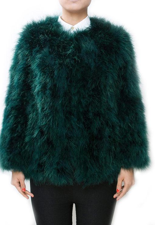 Fluffy Fur Fever Jacket Long Version Forest Green Front