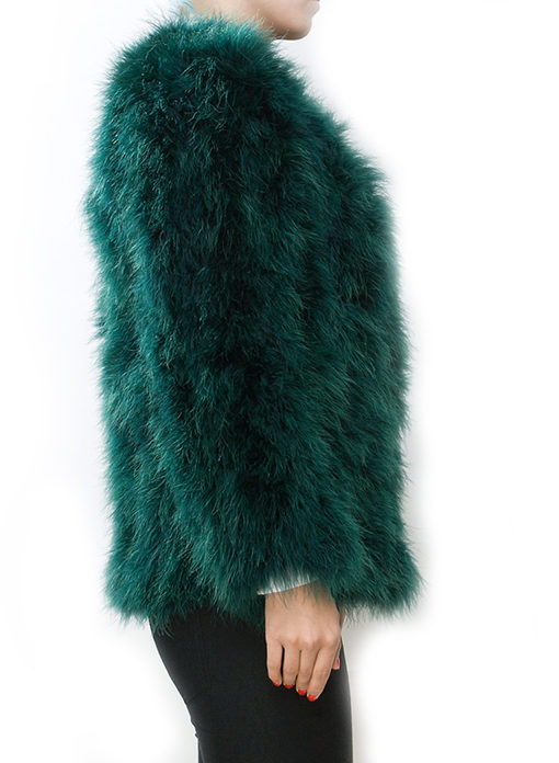 Fluffy Fur Fever Jacket Long Version Forest Green - Pellobello