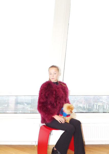 Fluffy Fur Fever Jacket Long Version Red Wine Cover