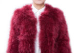 Fluffy Fur Fever Jacket Red Wine Front Closeup