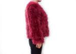 Fluffy Fur Fever Jacket Red Wine Side