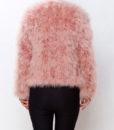 Fluffy Fur Fever Jacket Salmon Pink Back