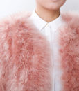 Fluffy Fur Fever Jacket Salmon Pink Front Closeup