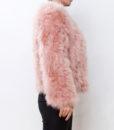 Fluffy Fur Fever Jacket Salmon Pink Side