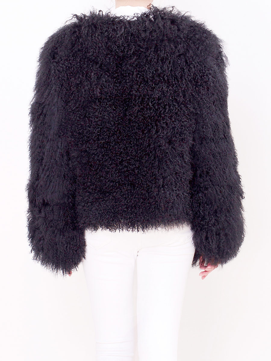 Mongolian Fur Jacket Black - Pellobello