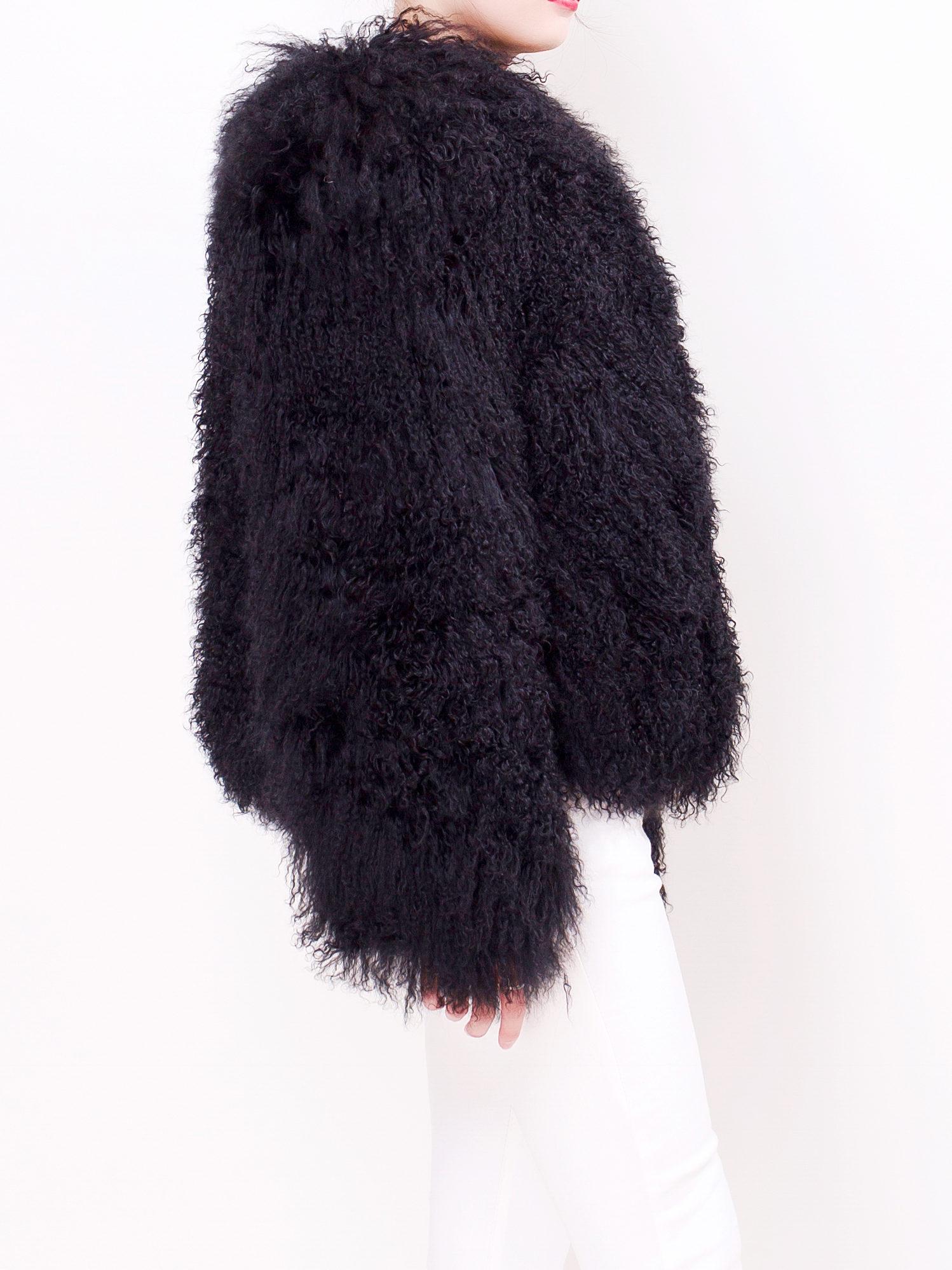 Mongolian Fur Jacket Black - Pellobello