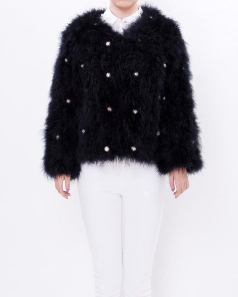 Fluffy fur fever jacket pearls-front