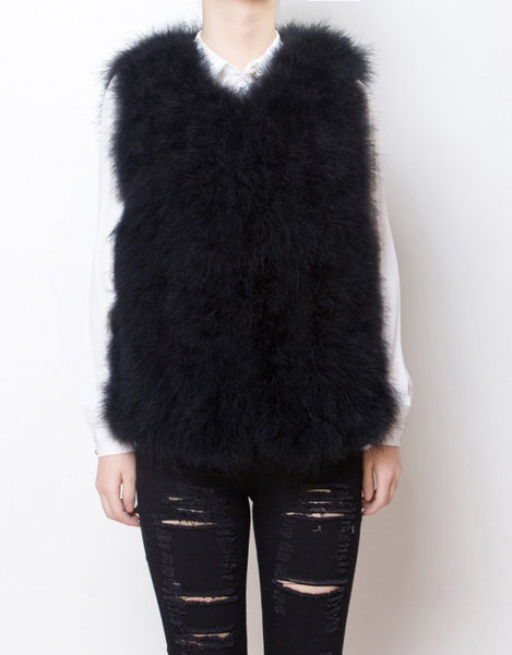 Fluffy Fur Fever Vest Classic Black Front
