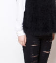 Fluffy Fur Fever Vest Classic Black Side Closeup