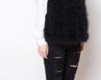 Fluffy Fur Fever Vest Classic Black Side Closeup