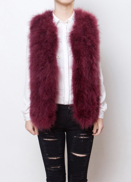 Fluffy Fur Fever Vest Red Wine Front