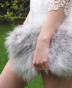 Fluffy Fur Fever Bag Ash Grey