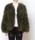 Fluffy Fur Fever Jacket Moss Green Front