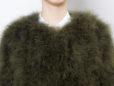 Fluffy Fur Fever Jacket Moss Green Front Closeup