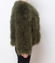 Fluffy Fur Fever Jacket Moss Green Side