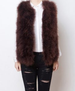 Fluffy Fur Fever Vest Coffee Brown Front Open
