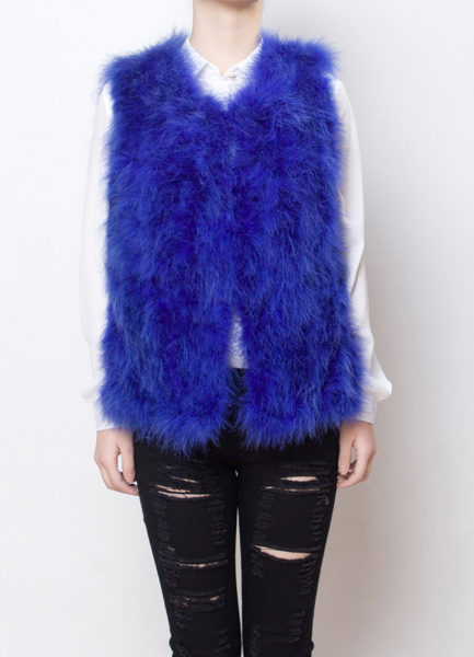 Fluffy Fur Fever Vest Electric Blue Front