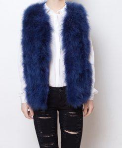 Fluffy Fur Fever Vest Lapis Blue Front
