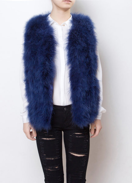 Fluffy Fur Fever Vest Lapis Blue Front