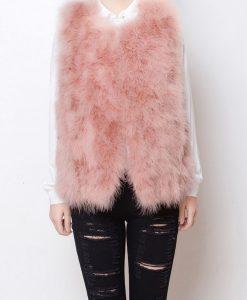 Fluffy Fur Fever Vest Salmon Pink Front
