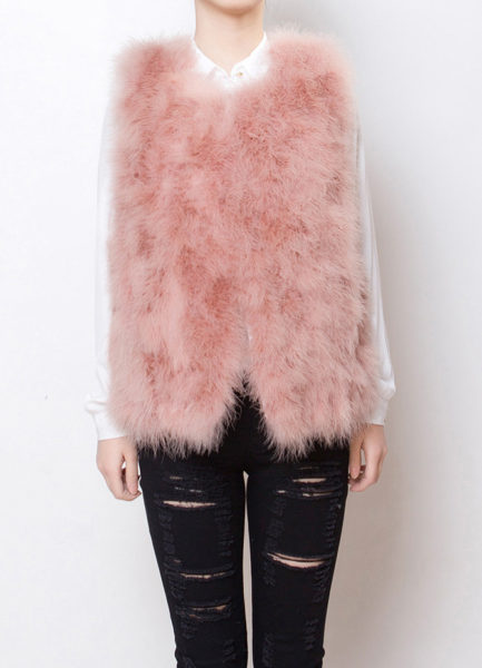 Fluffy Fur Fever Vest Salmon Pink Front