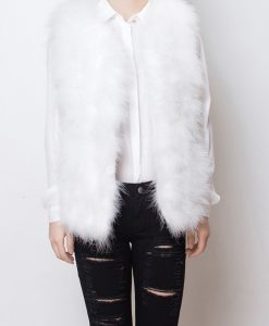 Fluffy Fur Fever Vest Snow White Front