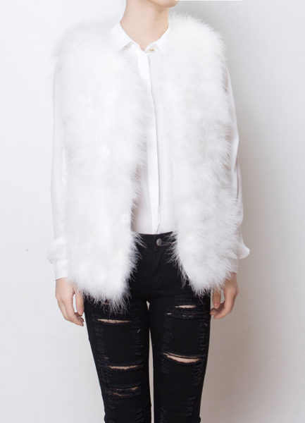 Fluffy Fur Fever Vest Snow White Front