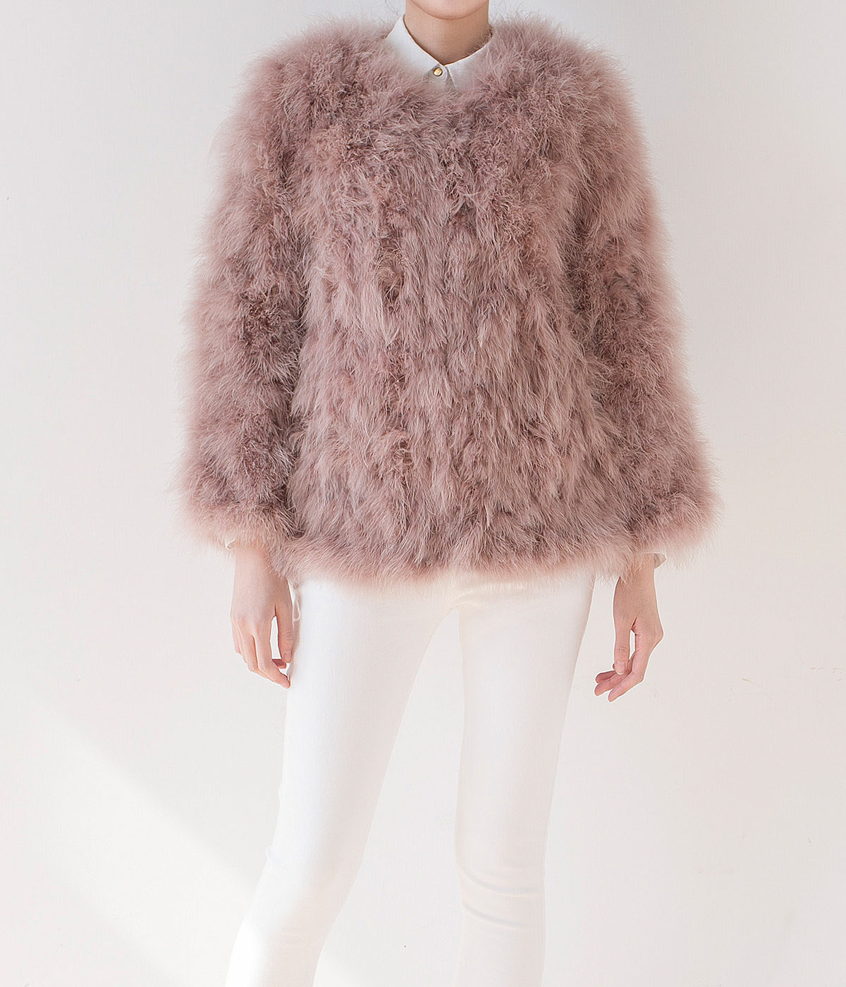 Fluffy Fur Fever Jacket Long Version Coral Pink - Pellobello
