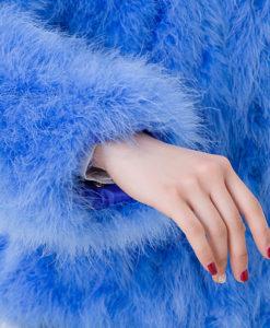 Fluffy Fur Fever Jacket Cerulean Arm Closeup