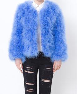 Fluffy Fur Fever Jacket Cerulean Blue Front