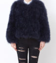 Fluffy Fur Fever Jacket Midnight Blue Front
