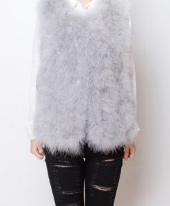 Fluffy Fur Fever Vest Ash Grey Front
