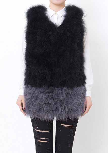 Fluffy Fur Fever Vest Black vs Charcoal Front
