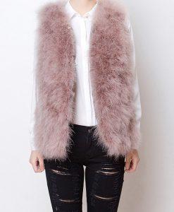 Fluffy Fur Fever Vest Coral Pink Front