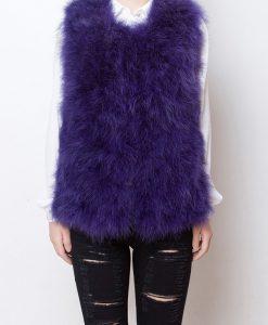 Fluffy Fur Fever Vest Lavender Purple Front