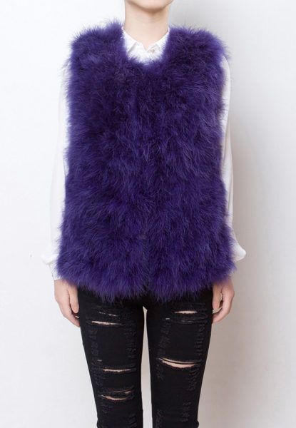 Fluffy Fur Fever Vest Lavender Purple Front