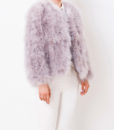 Fluffy Fur Fever Jacket Watercolour Ash Grey Half Side
